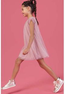 Vestido Infantil Em Tecido De Tule Com Foil Hering Kids