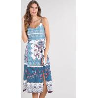 78ceeed45002 CEA. Vestido Feminino Estampado De Arabesco Com Botões E Fenda Alça Fina Off  White