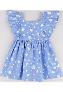 Vestido Infantil Estampado Floral Com Babado Manga Curta Azul Claro