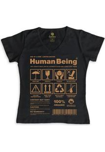 Camiseta Gola V Cool Tees Seres Humanos Feminina - Feminino-Preto