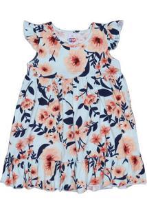 Vestido Floral Com Recorte - Azul Claro & Laranja Claro