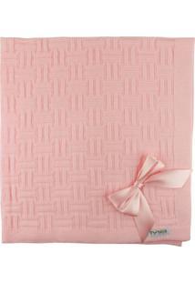 Manta De Tricot Michele Baby Rosa Nuance Com Laços