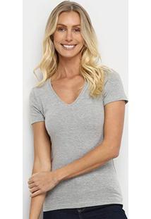 Camiseta Hering Básica Gola V Feminina - Feminino-Mescla
