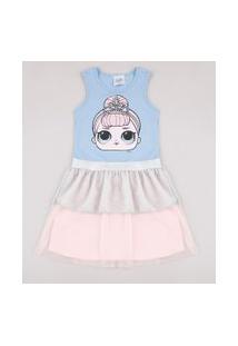 Vestido Infantil Lol Surprise Com Lurex E Tule Sem Manga Azul Claro
