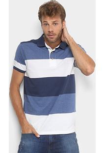 Camisa Polo Aleatory Listrada Fio Tinto Masculina - Masculino-Azul+Branco e9f55b4c17940