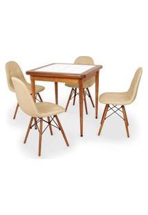 Conjunto Mesa De Jantar Em Madeira Imbuia Com Azulejo + 4 Cadeiras Botonê - Nude