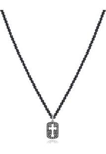 Colar Cruz Vazada Mini Branco Com Diamante Ttlb/Espinelio - U