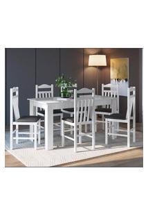 Conjunto Mesa Fixa 6 Cadeiras Branco E Preto Lilies Móveis