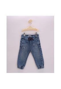 Calça Jeans Infantil Jogger Com Cordão Azul Médio