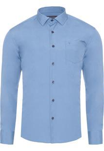 Camisa Masculina Lisa Tinturada - Azul