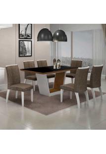 Conjunto De Mesa Com 6 Cadeiras Alemanha Iv Branco E Marrom