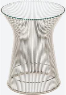 Mesa Lateral Platner Tampo De Vidro Estrutura Em Aço Nolan Collection Design By Warren Platner