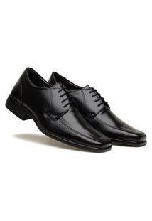 Sapato Masculino Social Confortável De Amarrar Preto Tamanho Grande