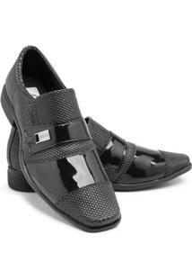 Sapato Social Verniz 734 Bico Quadrado Schiareli Masculino - Masculino-Preto