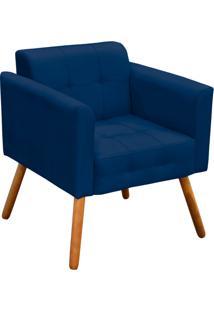 Poltrona Decorativa Elisa Suede Azul Marinho Pés Palito - D'Rossi