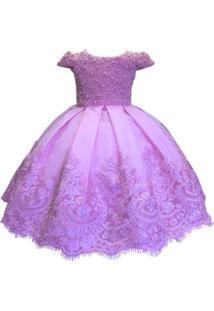 Vestido De Festa Liminha Doce Bordado Em Perolas Rosa
