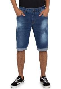 Bermuda Jeans Estonada Vizzy Jeans Masculina - Masculino-Azul