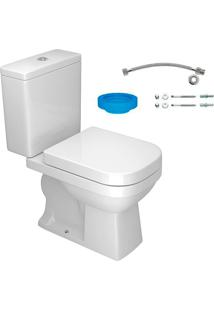 Kit Bacia Com Caixa Acoplada E Assento Quadra Branco + Conjunto De Fixação Flexível E Anel De Vedação - Kp.210.17 - Deca - Deca
