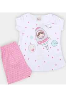 Pijama Infantil Kiko   Kika Listrado Feminino - Feminino-Rosa 984eb150ff3