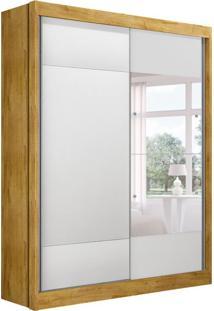 Guarda-Roupa Solteiro Com Espelho Falco Gold 2 Pt Freijó Dourado E Branco