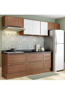 Cozinha Compacta Calábria 8 Portas Com Tampo E Rodapé Nogueira/Branco - Multimóveis