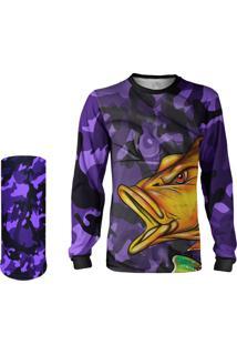 Camisa + Máscara Pesca Quisty Tucunaré Nervoso Camuflado Roxo Proteção Uv Dryfit Infantil/Adulto - Camiseta De Pesca Quisty