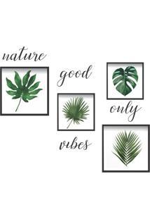 Conjunto Com 4 Quadros Decorativos E 1 Adesivo Natureza Preto