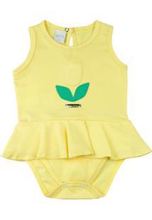 Body Bebê Cotton Conforto Ano Zero Bordado De Tulipa Amarelo