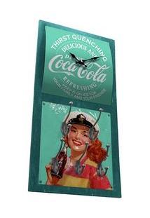 Relógio De Parede Com Cabide Coca Cola Pin Up Navy Vintage