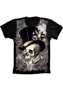 Camiseta Baby Look Lu Geek Caveira Chapeu Preto - Tricae
