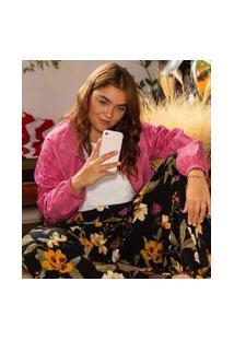 Jaqueta Em Cupro Com Bordado Curve & Plus Size | Ashua Curve E Plus Size | Rosa | G