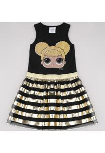 Vestido Infantil Lol Surprise Com Brilho E Tule Sem Manga Preto