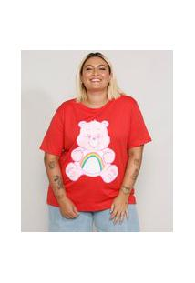 Camiseta Plus Size Feminina Manga Curta Ursinhos Carinhosos Decote Redondo Vermelha