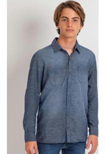 Camisa Jeans Com Botões Azul