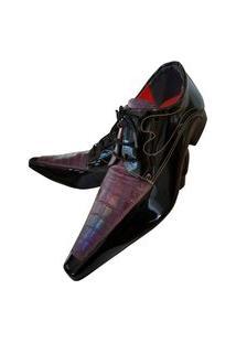 Sapato Masculino Italiano Social Executivo Em Couro Art Sapatos Vinho Escama