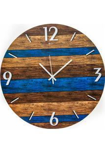 Relógio De Parede Em Mdf Redondo Wood Art 45Cm Azul E Marrom