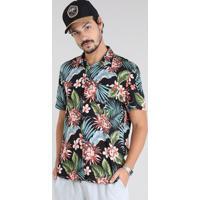 95ae6ee6e Camisa Masculina Estampada Tropical Com Bolso Manga Curta Preta