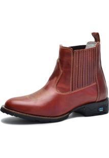 Bota Country Over Boots Bico Redondo Couro Vermelho Escuro - Kanui