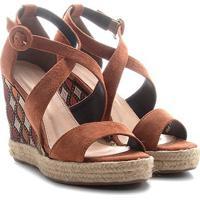 55f0c2595 Sandália Couro Anabela Shoestock Plataforma Com Bordado Feminina