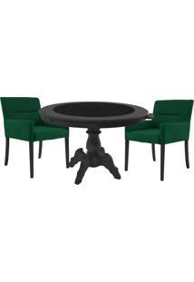 Mesa De Jogos Carteado Montreal Redonda Tampo Reversível Preto Com 2 Cadeiras Vicenza Verde - Gran Belo