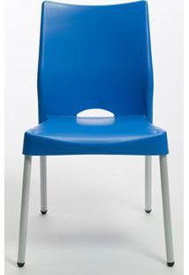 Cadeira Malba Base Fixa Pintada Cinza Cor Azul - 14306 - Sun House