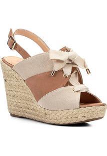 5bb6ce0fcd Sandália Plataforma Couro Shoestock Lona Feminina - Feminino