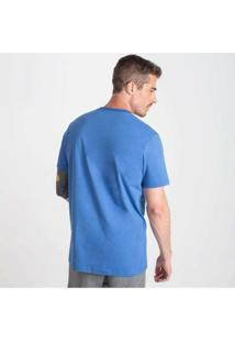 Camiseta Reta Masculina Gola V Azul