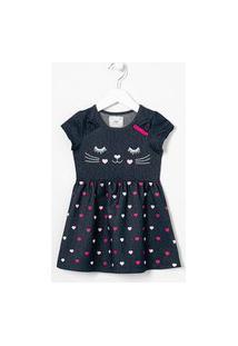 Vestido Infantil Estampado Com Orelhinhas - Tam 1 A 5 Anos | Póim (1 A 5 Anos) | Azul | 04
