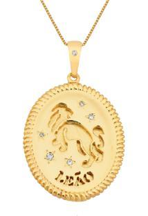 Colar La Madame Co Colar Medalha Signo Dourado