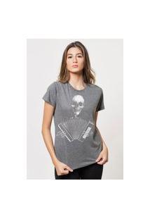 Camiseta Jay Jay Básica Caveira Sanfona Chumbo