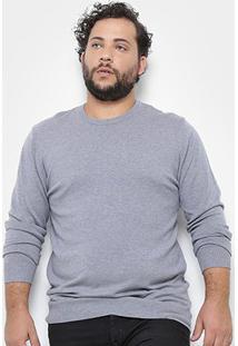 Blusa Tricô Delkor Plus Size Masculina - Masculino-Cinza