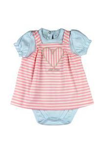 Vestido Bebê Ano Zero Cotton Listrado E Body Suedine Bordado Coraçáo - Rosa