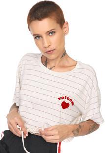 Camiseta Cropped Volcom Along The Way Off-White/Vermelha