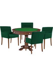 Mesa De Jogos Carteado Victoria Redonda Tampo Reversível Imbuia Com Kit 4 Cadeiras Vicenza Verde - Gran Belo